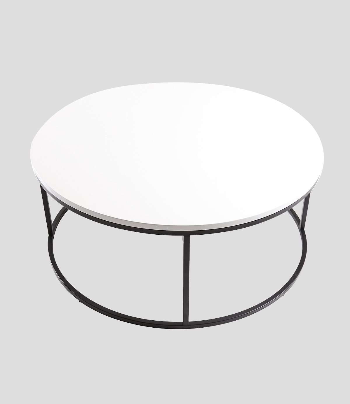 Nest Of 3 High Gloss White Curved Coffee Table Side Tables: Louis Round High Gloss Coffee Table White