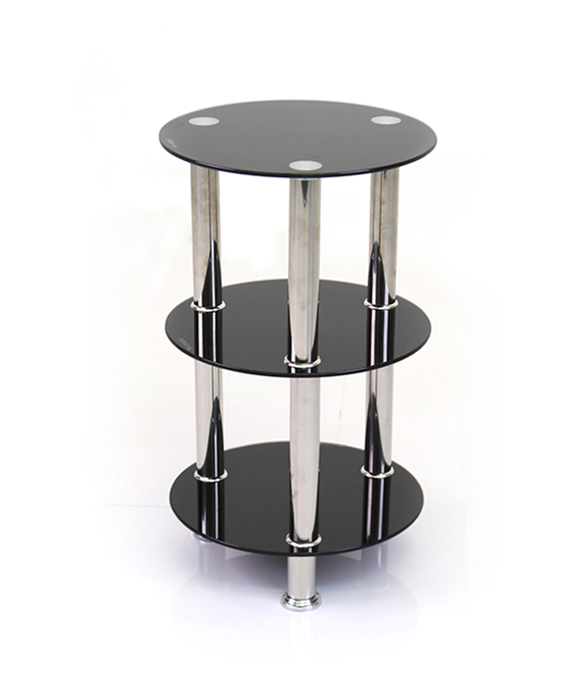 Abbey Black Round Glass and Chrome 3 Tier Stand