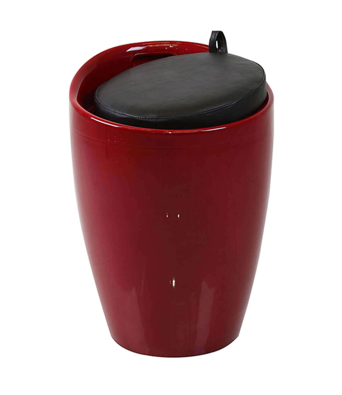 Barcelona Red High Gloss Storage Ottoman Stool with Faux Leather Seat