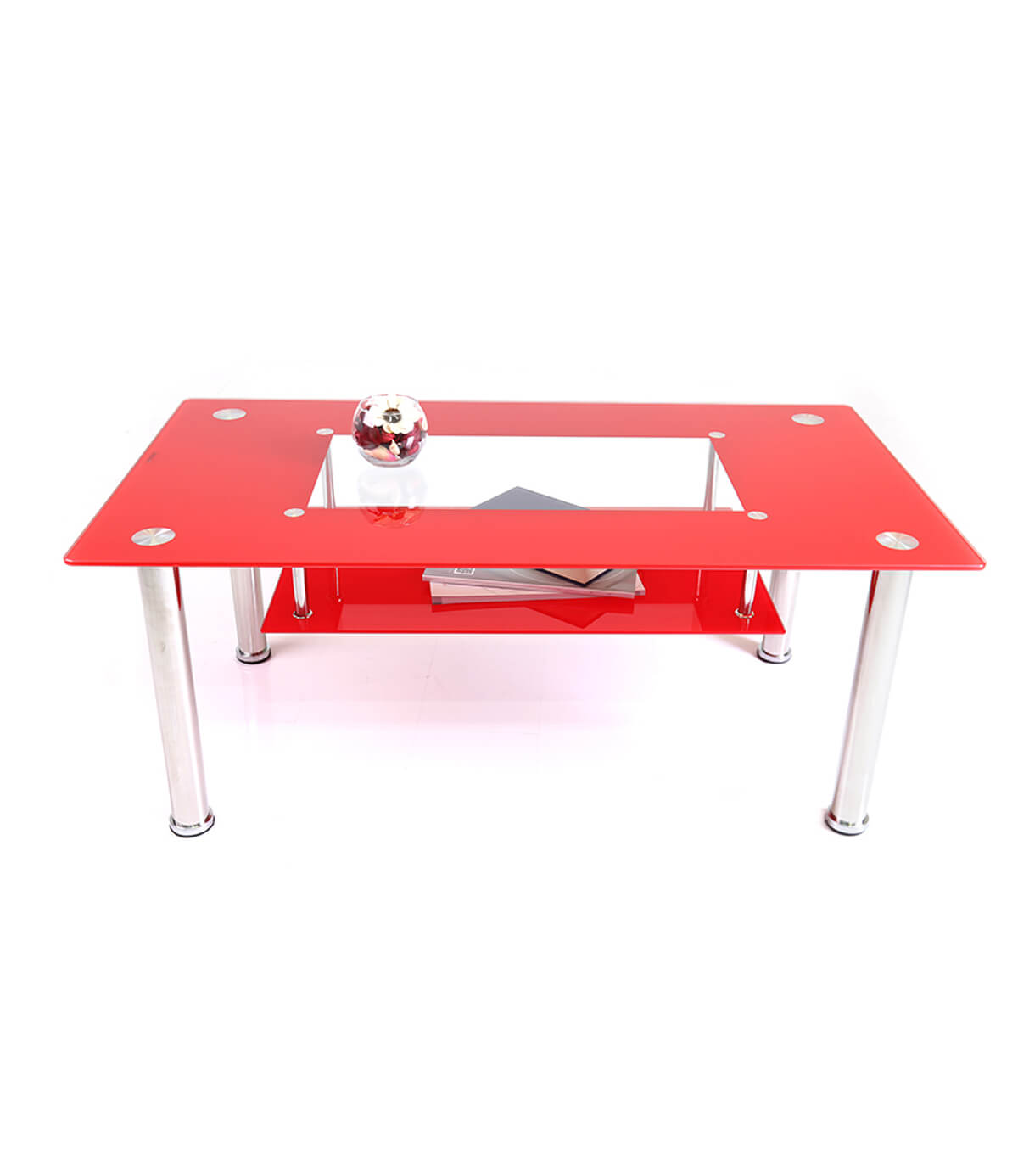 Christie Glass Top Rectangular Coffee Table Red