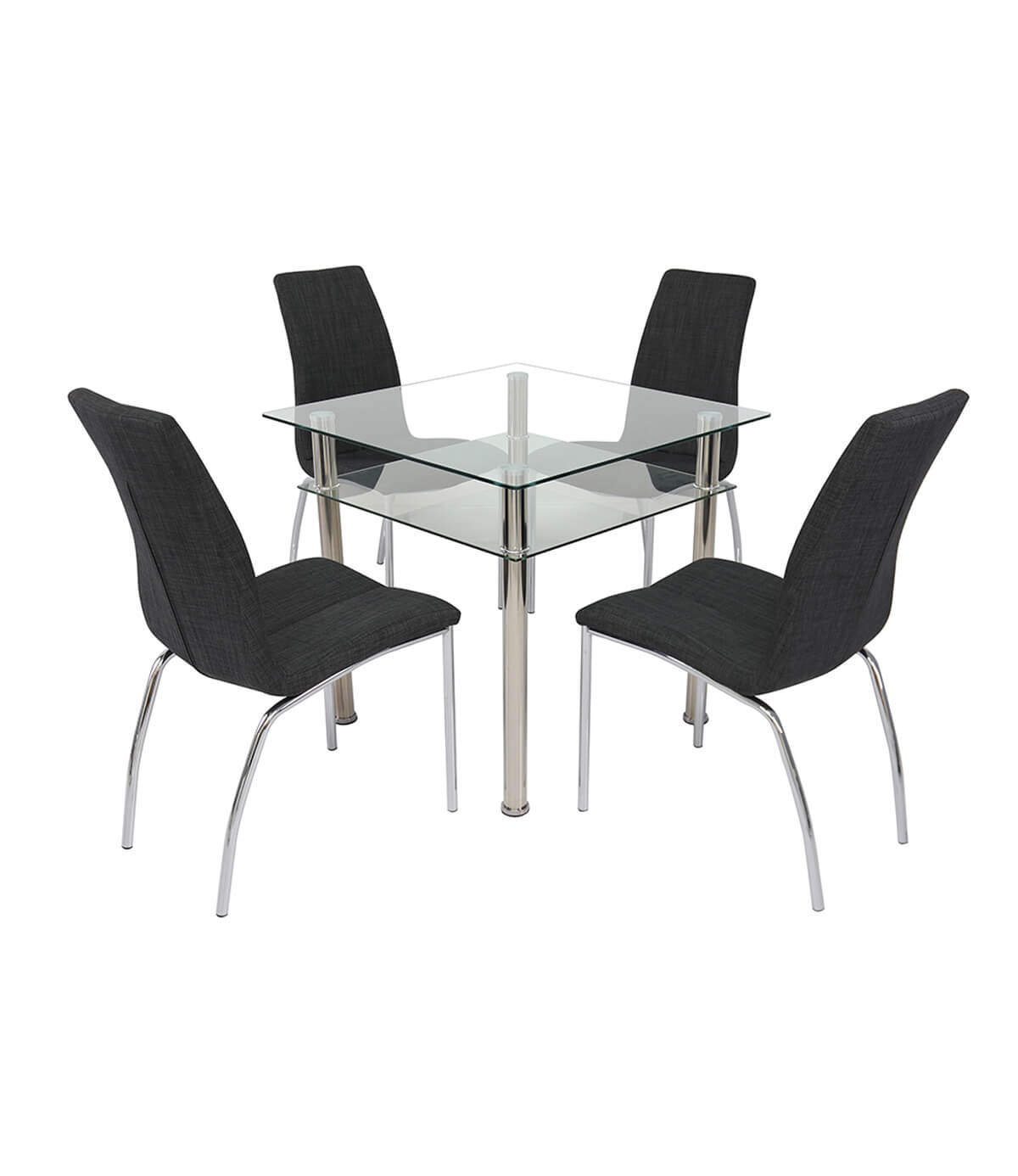 Como Square Glass Dining Table Clear