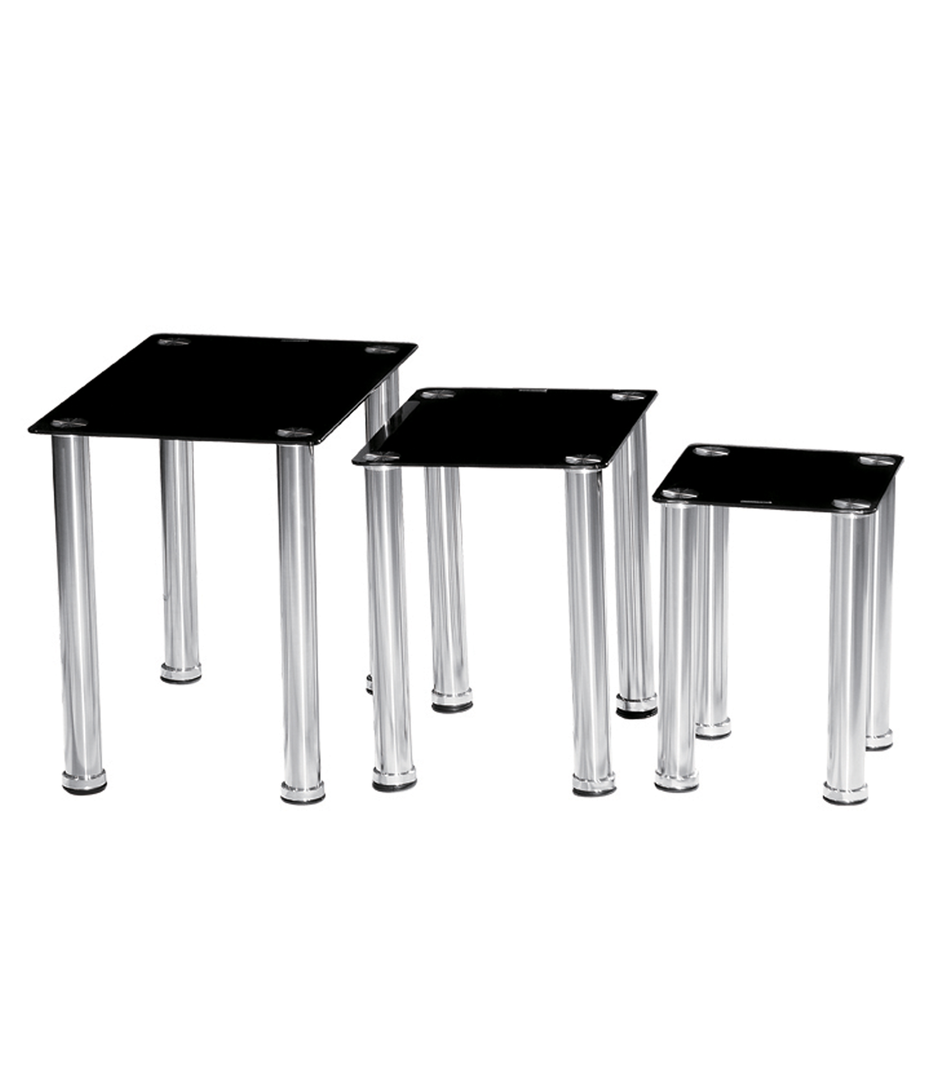 Crystal Black Glass Nest of Tables