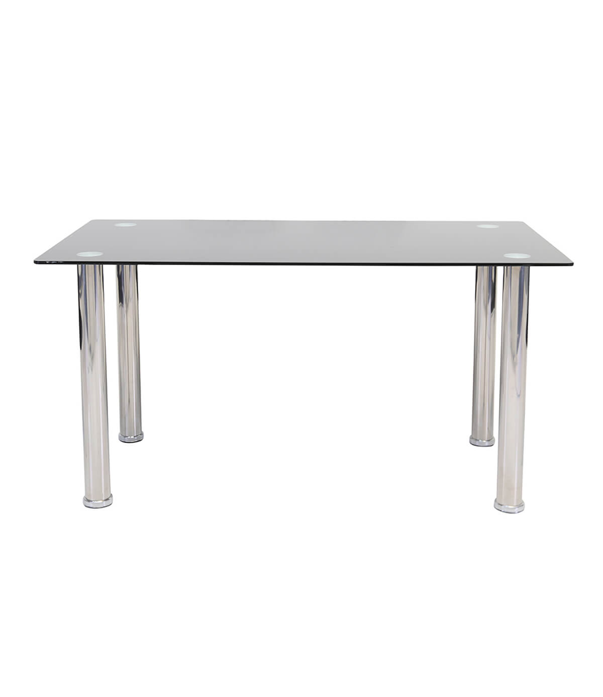 Crystal Black Glass Top and Chrome Dining Table (120cm)