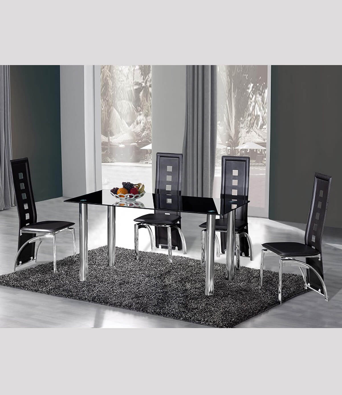 Crystal Black Glass Top and Chrome Dining Table (150cm)