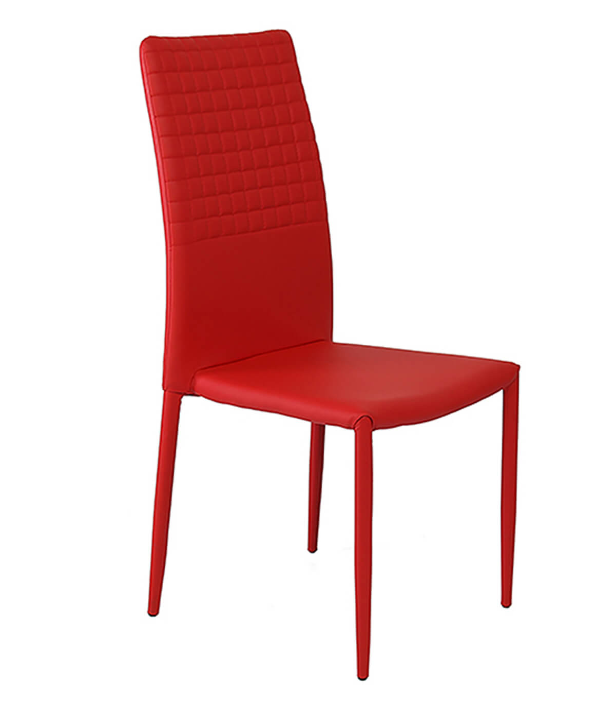 Cuba red modern faux leather dining chair manchester for Modern leather dining chairs uk