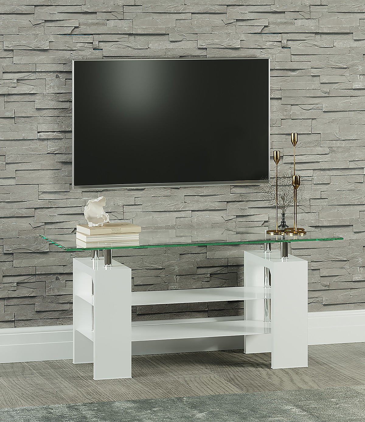 Metro High Gloss White Clear Glass TV Stand