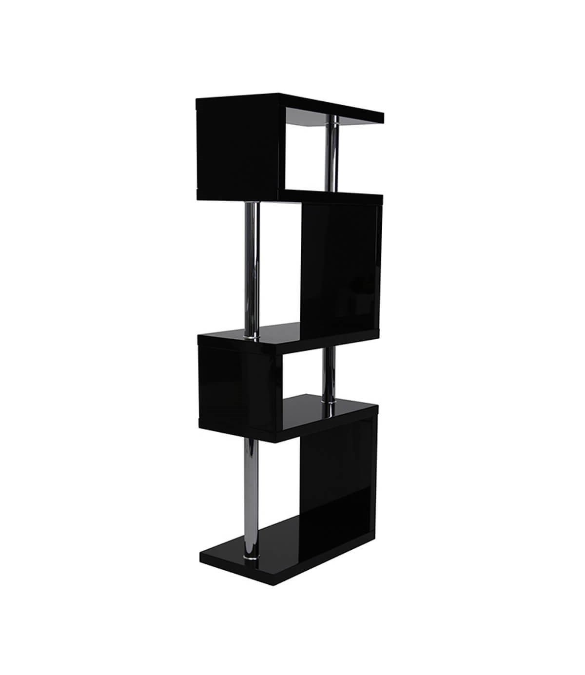 Miami Black High Gloss 5 Tier Shelving Unit Manchester