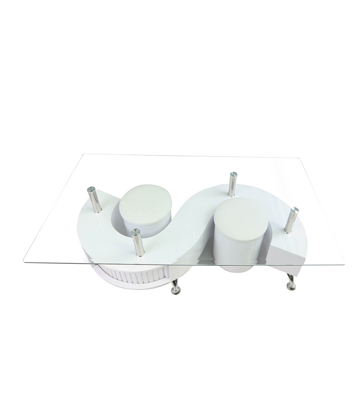 S Shape White Gloss Coffee Table With Storage And Stools