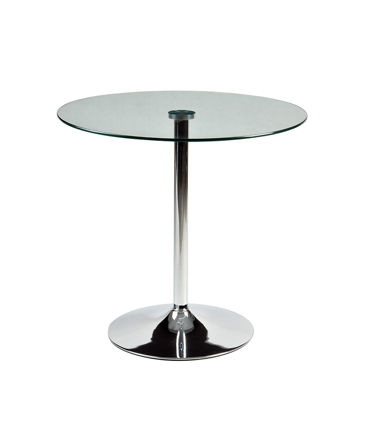 Torino 80cm Clear Glass Round Dining Table with Metal Legs