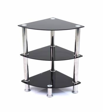 Ammy Black Glass and Chrome 3 Tier Corner Stand