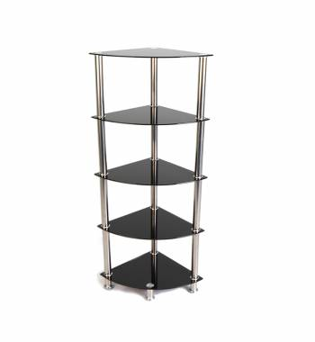 Ammy Black Glass and Chrome 5 Tier Corner Stand