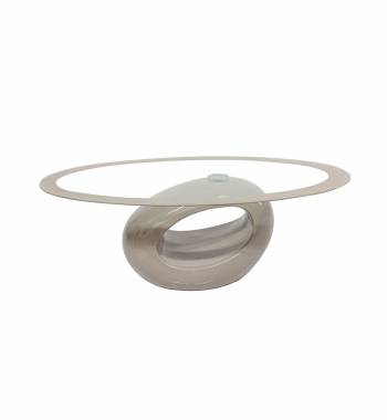 Cairo Oval Glass High Gloss Coffee Table Mink Grey