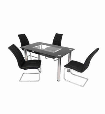 Christie Black Glass Dining Table with 4 New York Black Dining Chairs