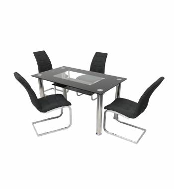 Christie Black Glass Dining Table with 4 New York Charcoal Dining Chairs