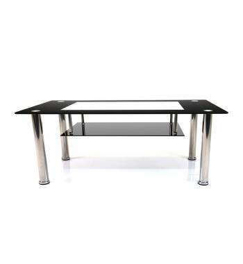 Christie Glass Top Rectangular Coffee Table Black