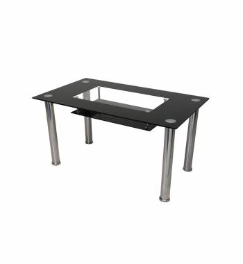 Christie Rectangular Glass Top Black Dining Table