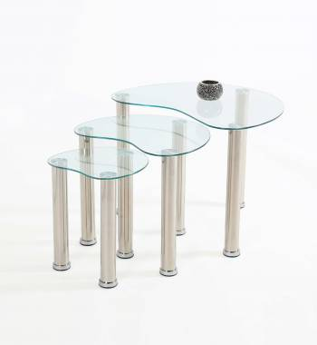 Clear Glass Heart Shaped Nest of Coffee and Side Tables