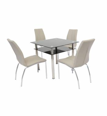 Como Glass Dining Table with 4 Boston Dining Chair