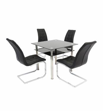 Como Glass Dining Table with 4 New York Dining Chairs
