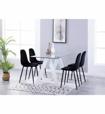 Criss Cross White Dining Table with 4 Alpine Plush Velvet Dining Chairs Black