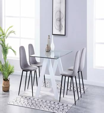 Criss Cross White Dining Table with 4 Alpine Plush Velvet Dining Chairs Grey
