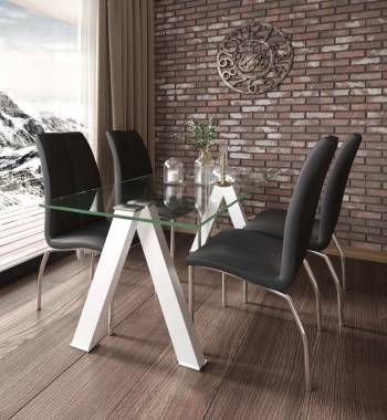 Criss Cross White Dining Table with 4 Boston PU Faux Leather Dining Chairs Black