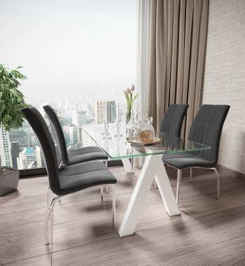 Criss Cross White Dining Table with 4 Boston PU Faux Leather Dining Chairs Charcoal