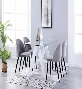 Criss Cross White Dining Table with 4 Candy Plush Velvet Dining Chairs Grey