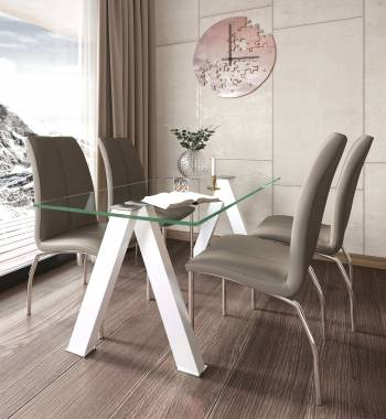 Criss Cross White Dining Table with 4 Boston PU Faux Leather Dining Chairs Mink Grey