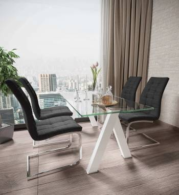 Criss Cross White Dining Table with 4 New York PU Faux Leather Dining Chairs Charcoal