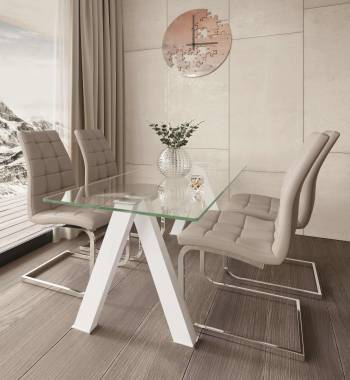 Criss Cross White Dining Table with 4 New York PU Faux Leather Dining Chairs Mink Grey