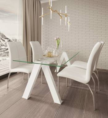 Criss Cross White Dining Table with 4 Boston PU Faux Leather Dining Chairs White