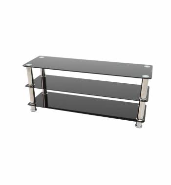 Crystal Black Glass and Chrome Flat Screen Modern TV Stand