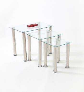 Crystal Modern Clear Glass Nest of Tables