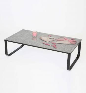 Heart Printed Glass Top and Metal Coffee Table