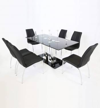 Holly 150cm Black Glass Top and Chrome Modern Dining Table