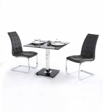 Holly Black Square Glass Top and Chrome Modern Dining Table