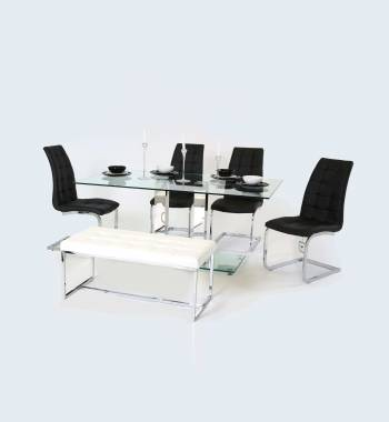 Holly Clear Glass Top and Chrome Modern Dining Table 160 CM