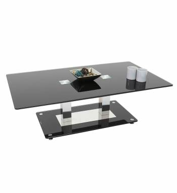 Holly Modern Black Glass Top and Chrome Coffee Table