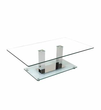 Holly Modern Clear Glass Top and Chrome Coffee Table