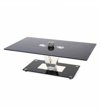 Holly V Black Glass Top and Chrome Modern Coffee Table