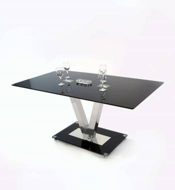 Holly V Black Glass Top and Chrome Modern Dining Table