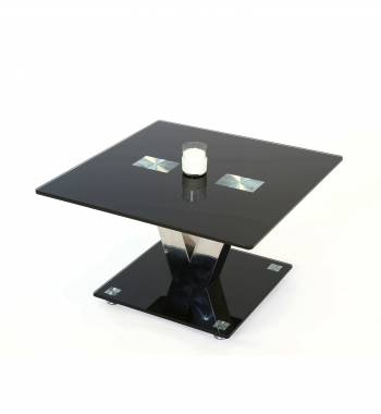 Holly V Black Glass Top and Chrome Modern Side Table