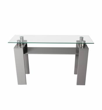 Metro Grey High Gloss Clear Glass Console Table