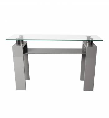 Metro High Gloss Clear Glass Console Table Grey