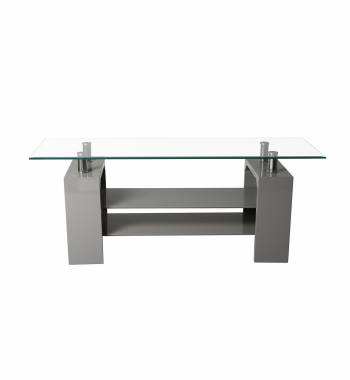 Metro Grey High Gloss Clear Glass TV Stand