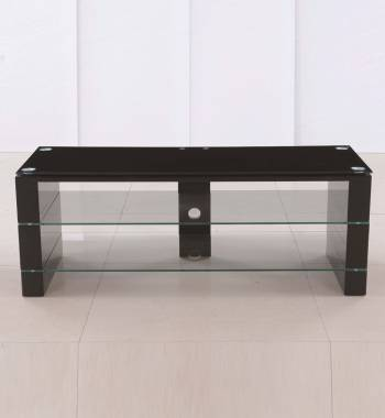 Jacobs Clear Glass Black High Gloss TV Stand Unit