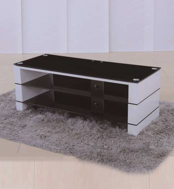 Jacobs Clear Glass White High Gloss TV Stand Unit