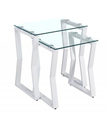 Kendal Clear Glass White Nest of Tables (Set of 2)