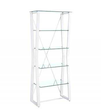 Kendal Clear Glass White 5 Tier Shelving Unit